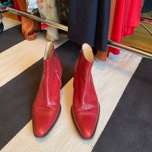 Red leather Henry Coir booties